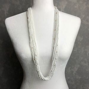 Jewelry - White and gold multi strand long statement necklac